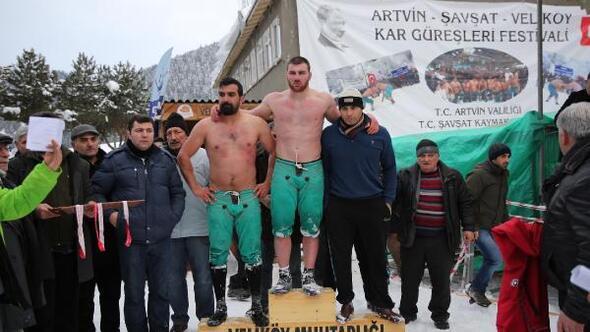 Şavşat'ta kar güreşleri nefes kesti - ek fotoğraflar