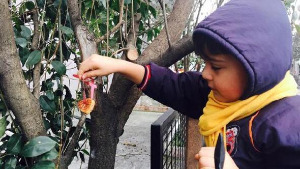 Çocuklar Sevgi gününde kuşlar için kalpten yemlik yaptı