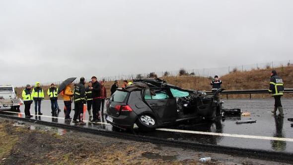 TEMde 5 araç arka arkaya kaza yaptı: 1 ölü, 4 yaralı