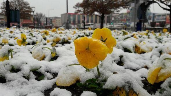 Erzincanlılara Nisanda kar sürprizi