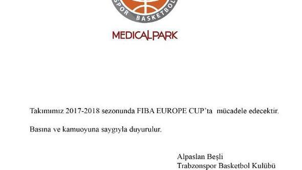 Trabzonspor Medical Park, FIBA Europe Cup'ta mücadele edecek