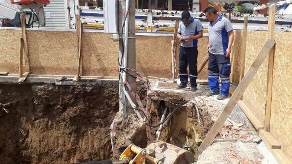 İnşaat kazısında doğalgaz borusu patladı