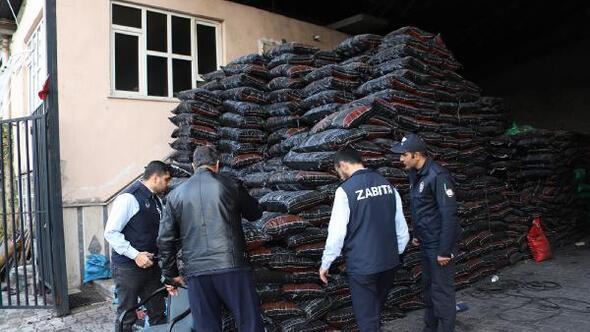 Konya Büyükşehir Belediye zabıta ekipleri 177 ton kaçak kömüre el koydu