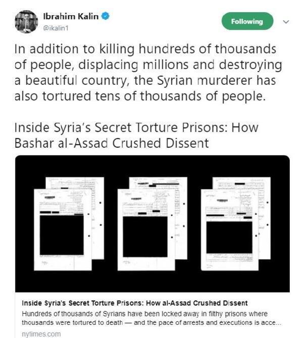 İbrahim Kalın: Suriyeli katil, on binlerce insana işkence yaptı