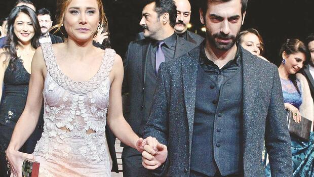 Burçin Terzioğlu ile İlker Kaleli Altın Kelebek ödül törenine el ele geldİler
