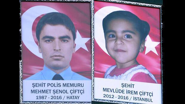 Çınar'da şehit olan polis ve küçük kızını on bin kişi uğurladı