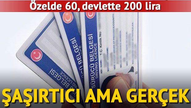 Ehliyet için gerekli olan sağlık raporu özelde 60, devlette 200 liraya