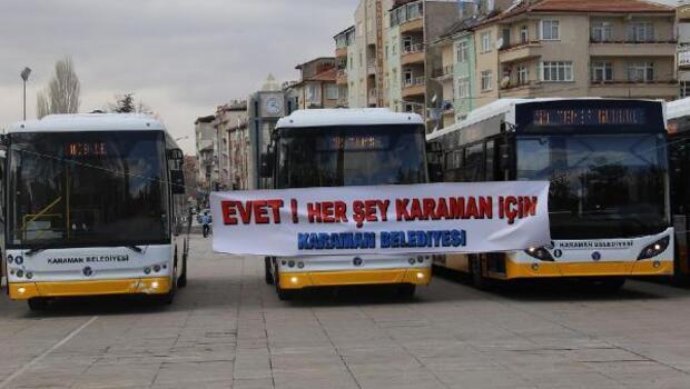 Karamana 10 yeni halk otobüsü