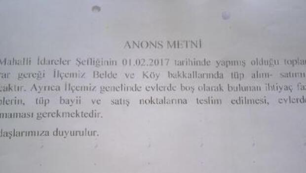Silopide camilerden anons yapıldı: Evlerde boş tüp bulundurmayın
