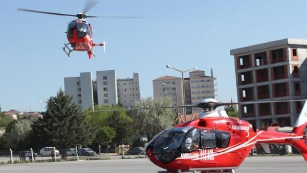 Kolu kopan genç ambulans helikopterle sevk edildi