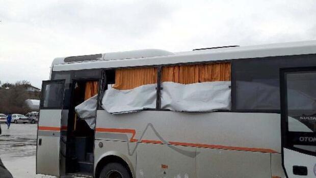 Erbaaspor futbolcularını taşıyan otobüse taşlı saldırı