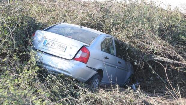 TEMde çarpışan iki otomobil şarampole yuvarlandı: 7 yaralı