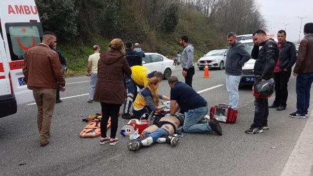 Motosikletçiler otoyolda kaza yaptı: 1 ölü, 2 yaralı