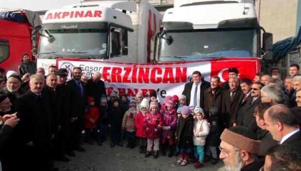 Erzincan'dan 33 TIR yardım