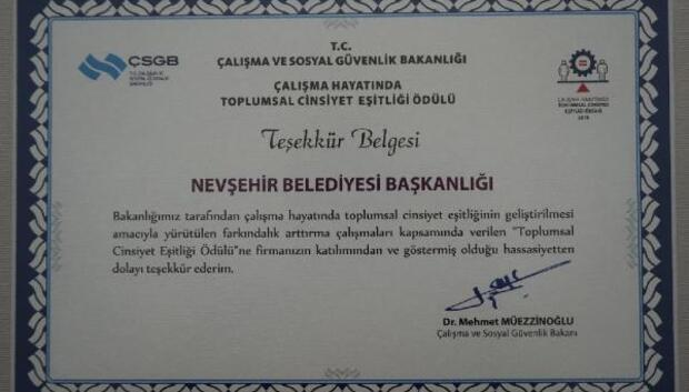 Nevşehir Belediyesi'ne teşekkür belgesi verildi