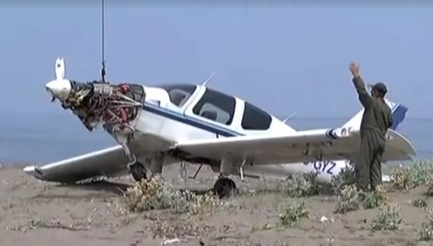 Aday pilotun uçağı inişte takla attı