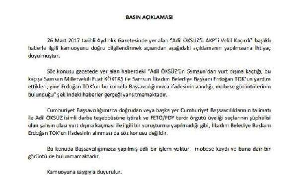 Samsun Cumhuriyet Başsavcılığından Adil Öksüz açıklaması