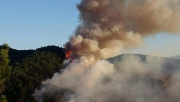 Kastamonudaki orman yangını söndürülmeye çalışılıyor