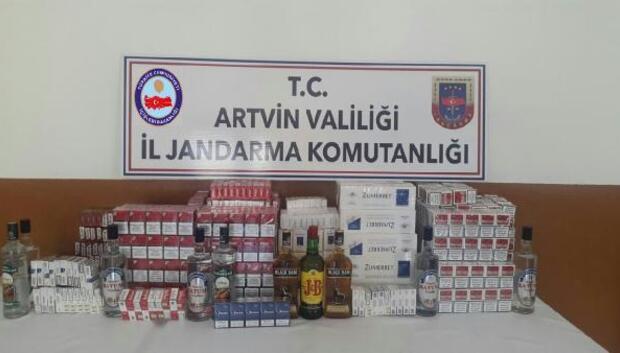 Artvin'de gümrük kaçağı sigara ve içki operasyonu