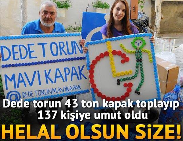 Son Dakika Haberler - Eskişehir'de işçi emeklisi Halit Aydoğdu (72) ile torunu lise öğrencisi Melike Sarıtaş (16), 11 yılda 43 ton mavi kapak topladı. Dede torun topladıkları mavi kapaklarla 137 tekerlekli sandalye aldı.