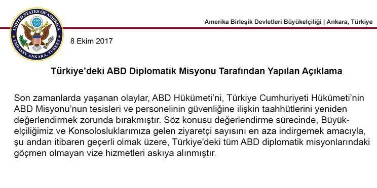 Son dakika: Türkiye de ABD vatandaşlarının vize başvurularını askıya aldı