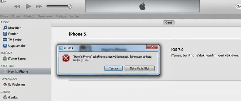 iphone yazılım yükleme hatası