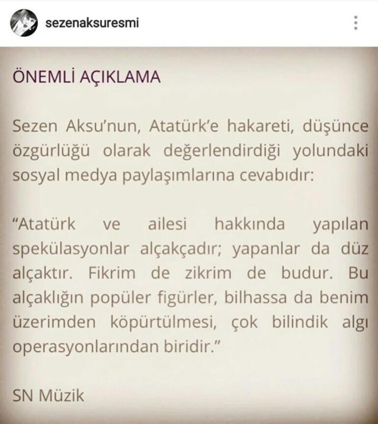 Sezen Aksu: Atatürk ve ailesi hakkında yapılan spekülasyonlar alçakçadır; yapanlar da düz alçaktır