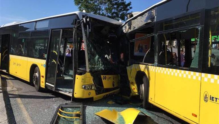 Son dakika: İki metrobüs kafa kafaya çarpıştı... Yaralılar var
