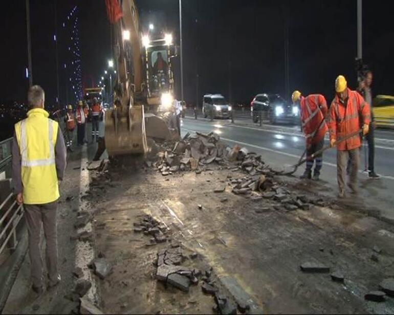 Köprüde 2.5 ay sürecek çalışmalar başladı