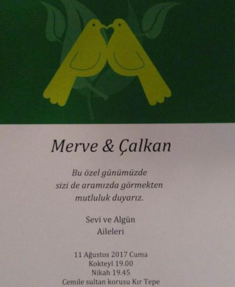 Merve Sevi ve Çalkan Algünün nikah davetiyesi ortaya çıktı