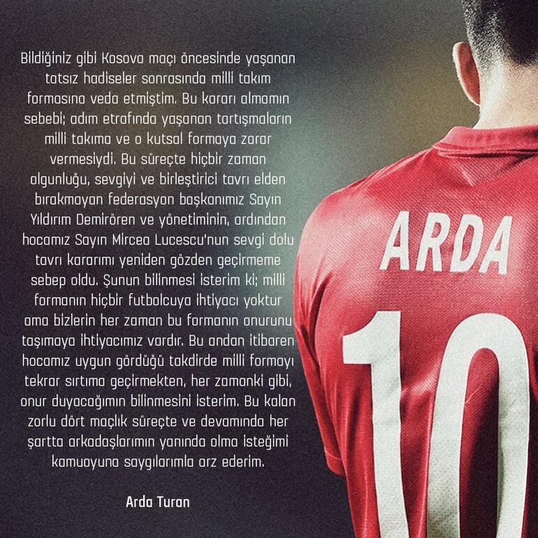 Son dakika: Arda Turan milli takıma döndüğünü açıkladı