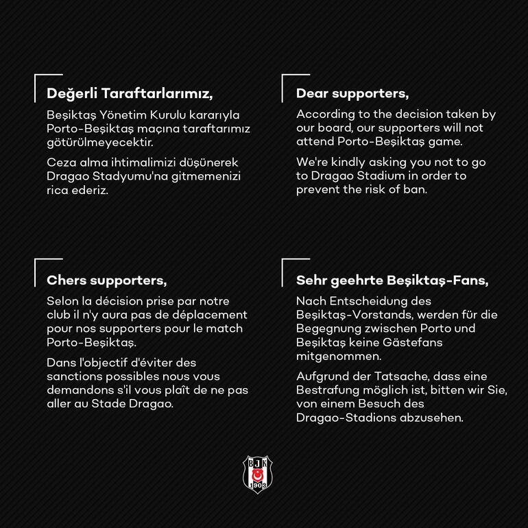 Beşiktaş kulübünden 4 dilde çağrı Gitmemenizi...