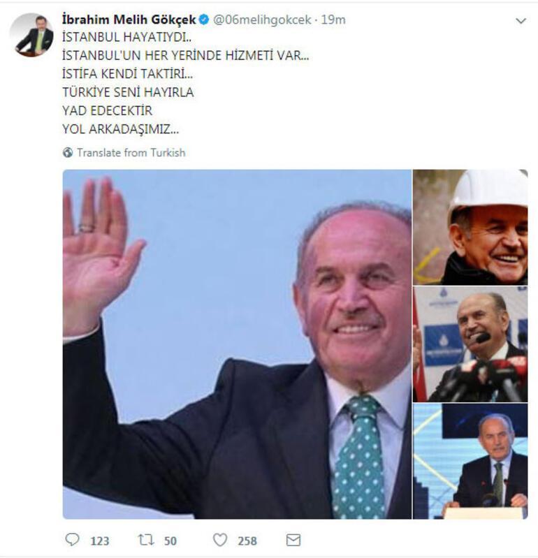 Melih Gökçekten Topbaş tweeti...