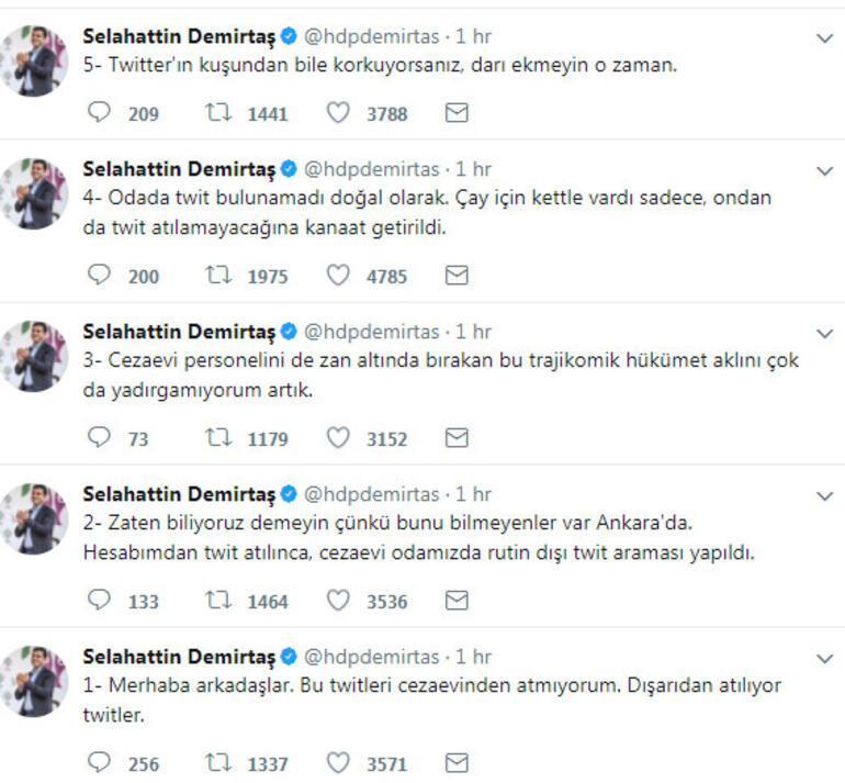 Selahattin Demirtaş'ın cezaevindeki odasında Twitter araması yapıldı