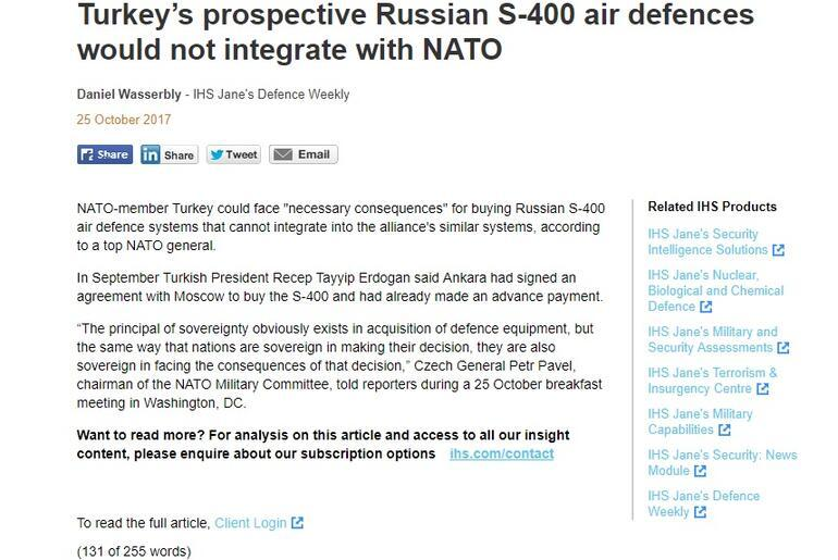 NATOdan Türkiyeye S-400 tehdidi