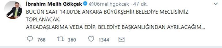 Melih Gökçekten istifa öncesi son tweet
