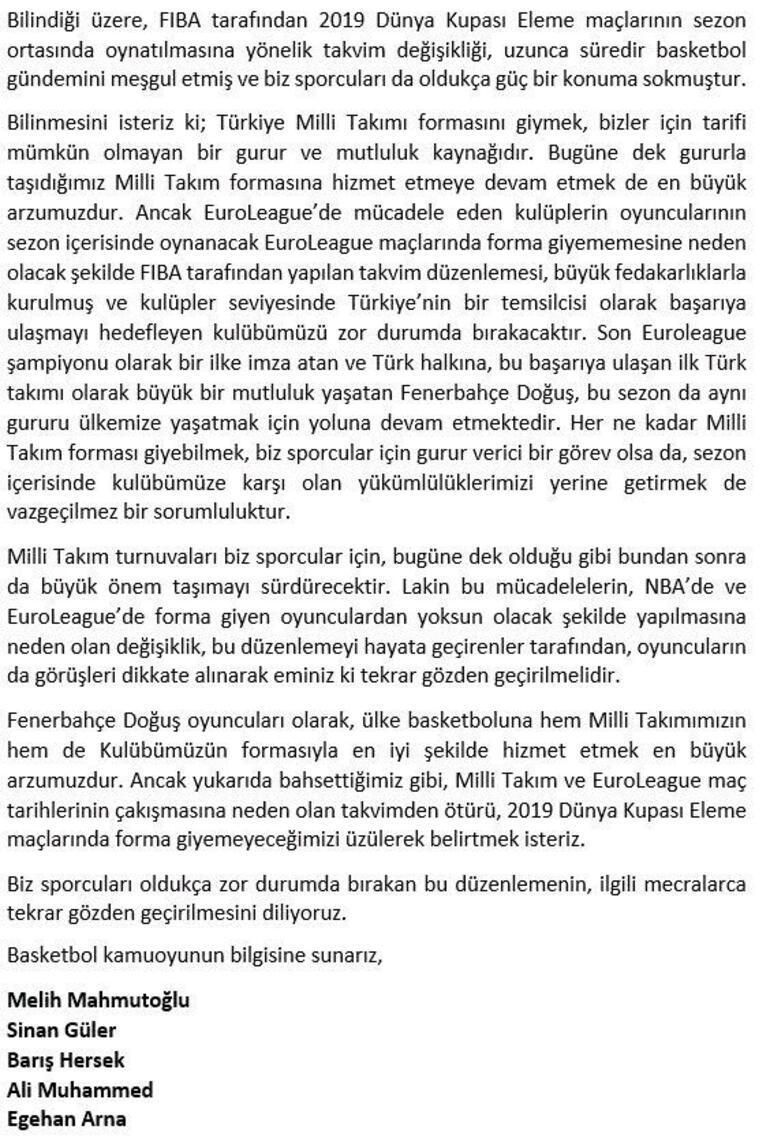 Fenerbahçeden flaş milli takım kararı