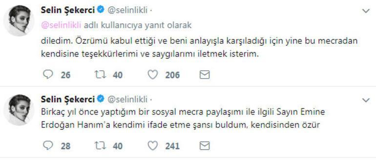Oyuncu Selin Şekerci, Emine Erdoğandan özür diledi