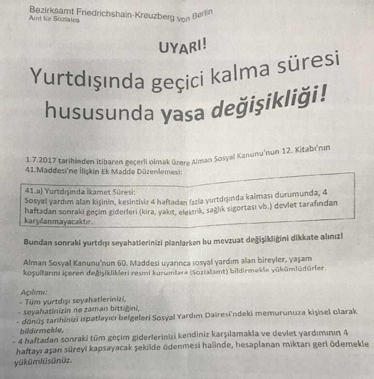 Sosyal yardım alana Türkçe uyarı mektubu