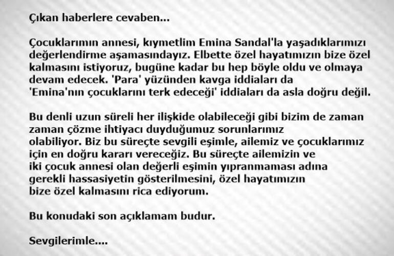 Mustafa Sandal ve Emina Sandal boşanıyor mu Şaşırtan açıklama