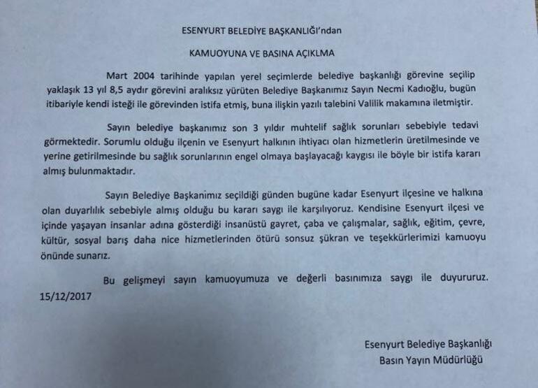 SON DAKİKA... Esenyurt Belediye Başkanı istifa etti