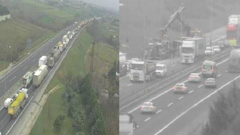 Son dakika... TEMde kaza İstanbul yönü trafiğe kapandı