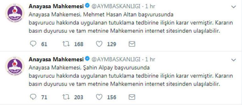 Tahliye talebi reddedildi... AYMden bu tweetler atıldı