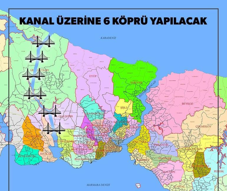 İstanbulun 19 ilçesi adalı olacak 6 köprü ile birbirine bağlanacak