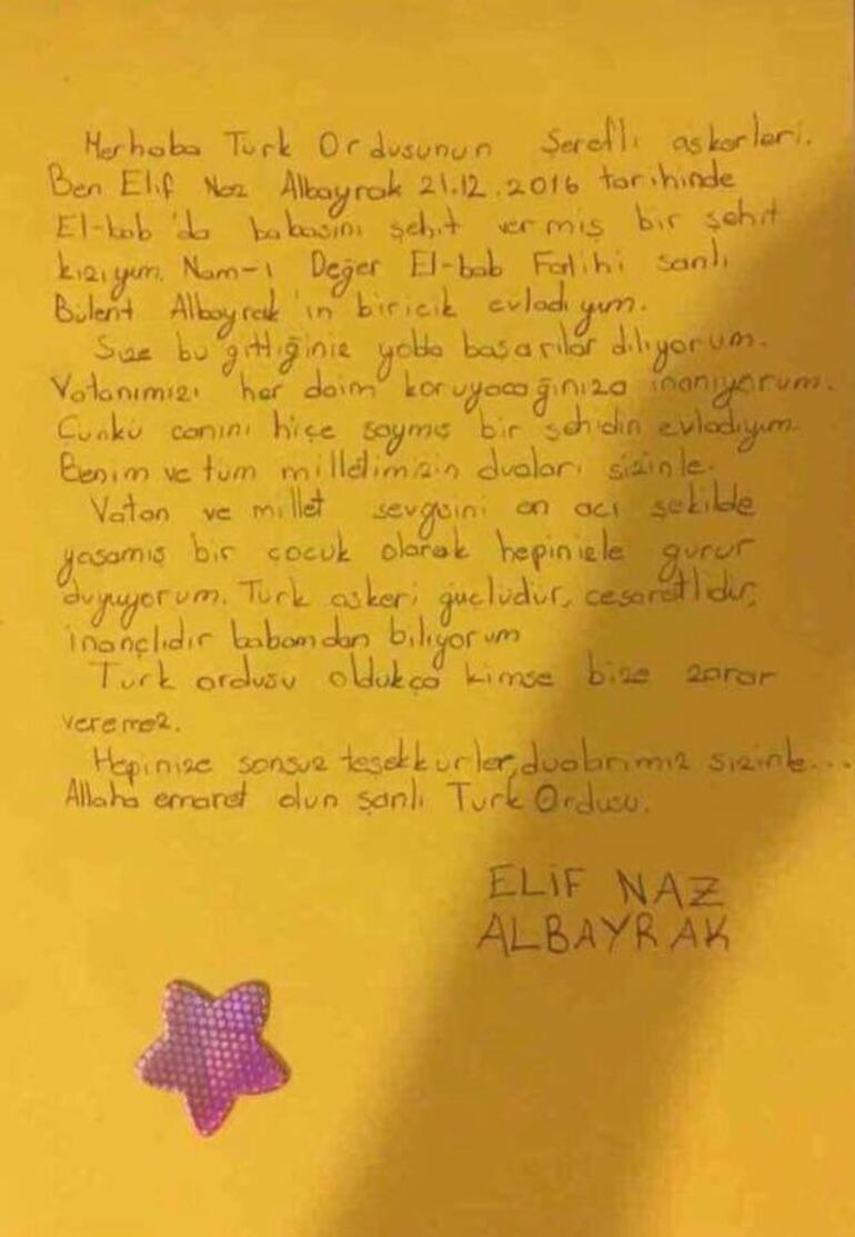 Şehit Binbaşı Bülent Albayrakın kızından Mehmetçiğe mektup