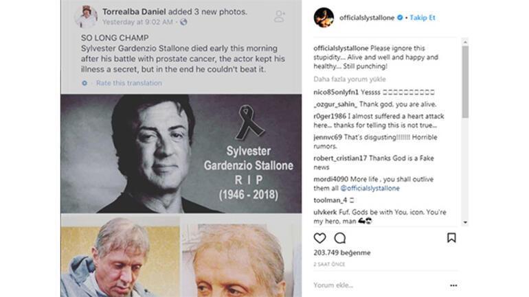 Sylvester Stallone öldü söylentisi yine ortalığı karıştırdı Ünlü oyuncudan ilk açıklama