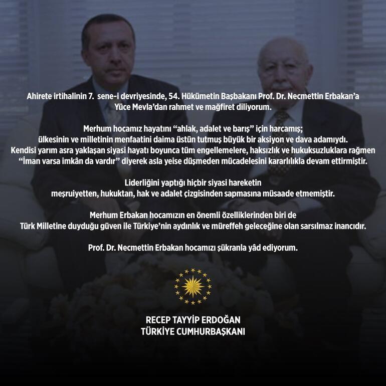 Erdoğandan Erbakanı anma mesajı