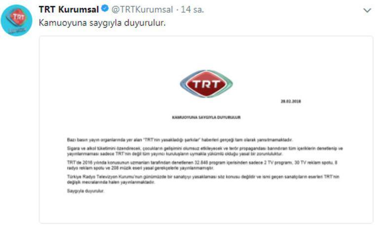 208 şarkı neden yasak TRTden ilk açıklama...