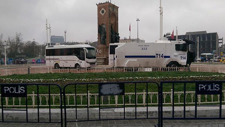 Taksimde 8 Mart önlemi... TOMA ve çevik kuvvet konuşlandırıldı