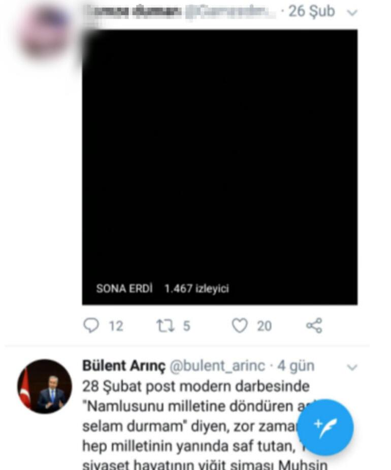 Bülent Arınçın hesabından +18lik paylaşım iddiası